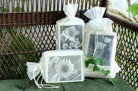 Flower Note Cards in Organza Bags